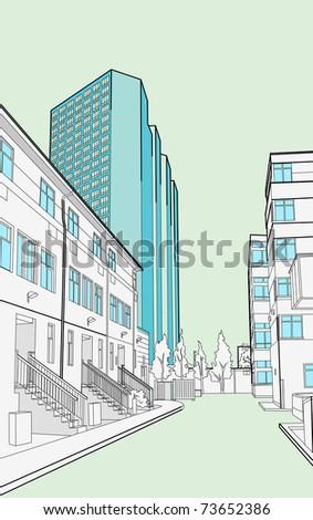 urban street - stock vector