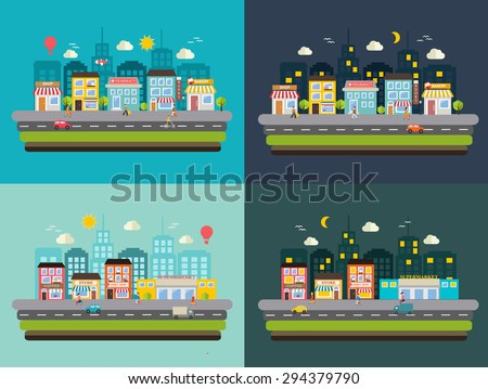 Urban streets at day and at night with shops, stores, transport and shopping people with shopping bags, vector illustration - stock vector