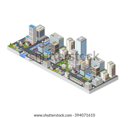 Urban three-dimensional 3d  city. Isometric perspective of architectural details. Skyscrapers and buildings in top view. Metropolis center. Flat stock vector. Transport and roads.