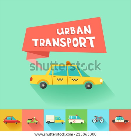 Urban transport flat vector icons. 9 colorful city vehicles including tram, ambulance, taxi cab, police car.  - stock vector