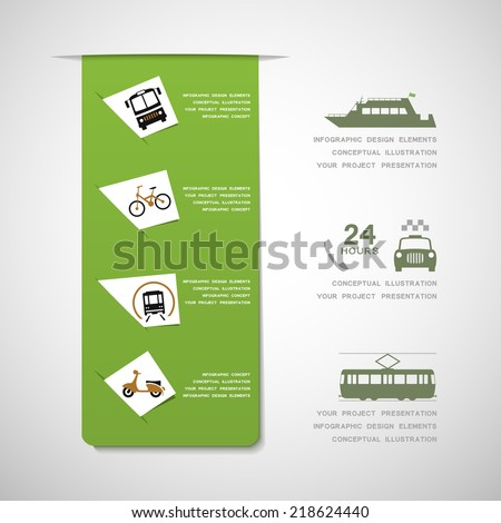 Urban transportation infographic design elements - stock vector