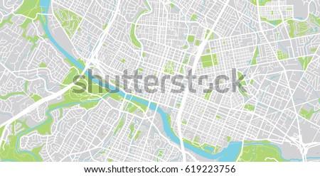 Urban Vector City Map Austin USA Stock Vector (Royalty Free ...