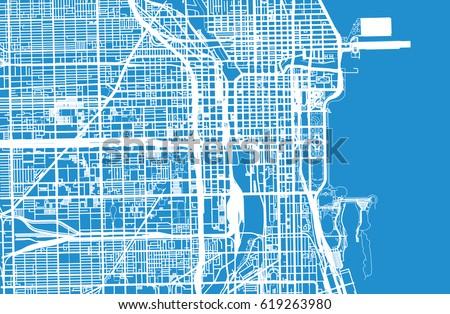 Urban Vector City Map Chicago USA Stock Vector 619263980 Shutterstock