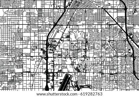 Urban Vector City Map Las Vegas Stock Vector 619282763 - Shutterstock