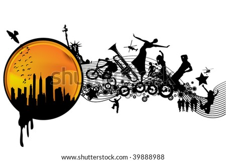 Urban vector composition - stock vector