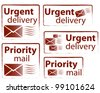 Urgent delivery and priority mail vector stamp collection - stock photo