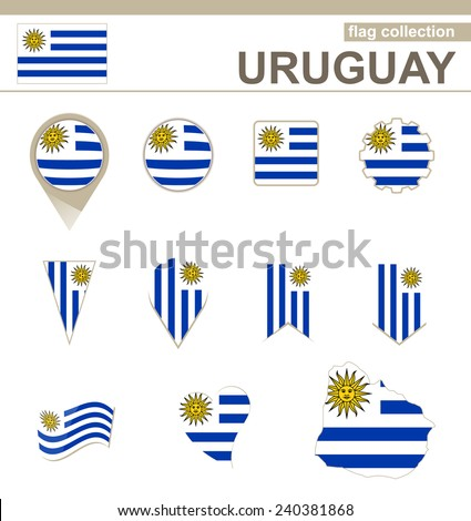 Uruguay Flag Collection, 12 versions - stock vector
