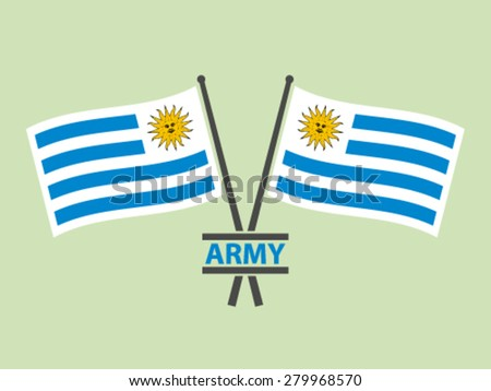 Uruguay Flags Emblem Army - stock vector