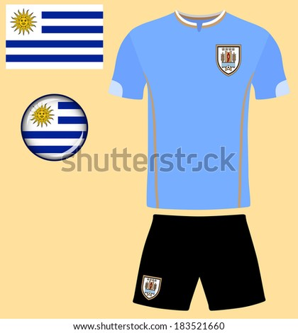 Uruguay Football Jersey. Abstract vector image of the Uruguayan football team kit, along with flag and icon. - stock vector