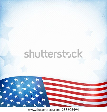 US American flag themed background, or card with wavy flag at the bottom forming a patriotic border on a distressed, worn background with faintly visible stripes and stars. - stock vector