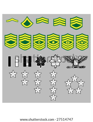 US Army rank insignia for officers and enlisted in vector format - stock vector