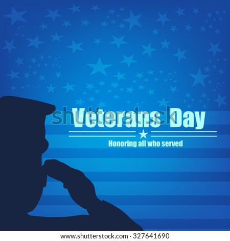 US Army soldier saluting on blue american flag background.Vector illustration. - stock vector