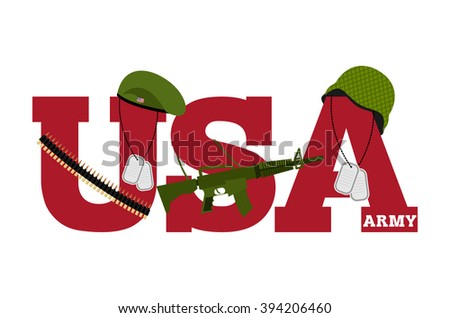 US Army. Symbol Americas Army. logo for US armed forces. Soldiers accessories. Green Beret and helmet. Soldiers badge. Military rifle. Cartridge belt bandoleer. Patriotic us army logo white background - stock vector