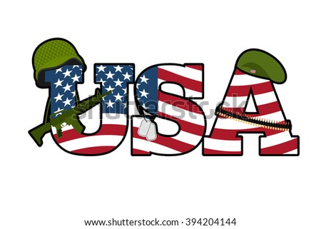 US Army symbol. Military Emblem Of America. American Flag. Military rifle, automatic. Green beret and a soldiers helmet. Soldiers badge and cartridge belt. National symbol of America - stock vector