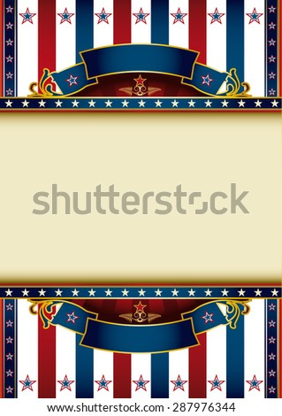 US background theme. A poster with a tricolor background and a large frame for your message - stock vector
