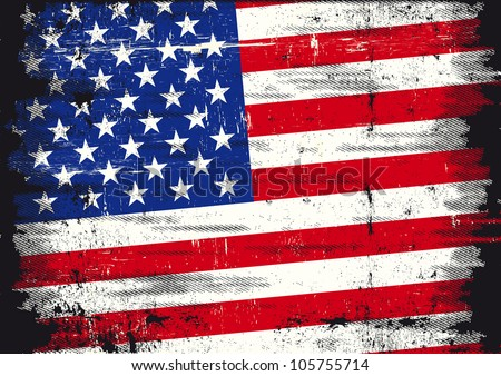 US distressed flag. A used patriotic US Flag with a texture - stock vector