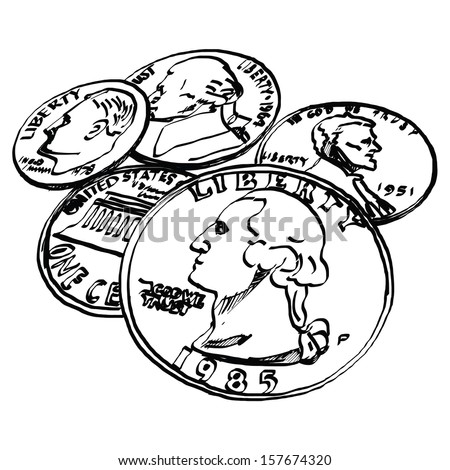 US Dollar coin - Hand drawn - stock vector