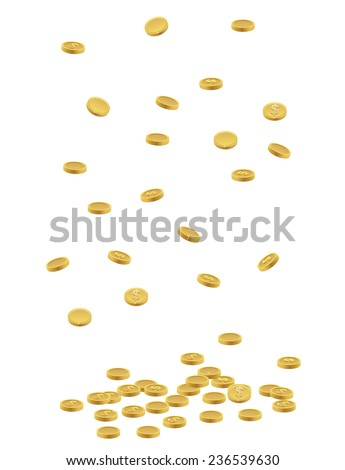 US dollar coins falling to the ground or floor - stock vector