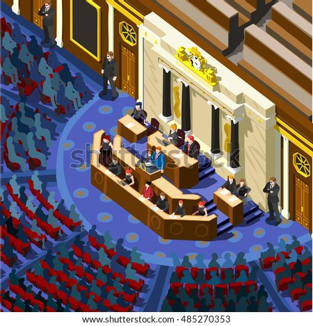Us Election 2016 infographic Democrat Republican convention hall. Party presidential debate endorsement. Trump GOP opponent rally Flat senate congress tribune pedestal auditorium audience Vector Image