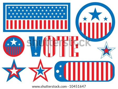 US election sign is the traditional red white and blue - stock vector