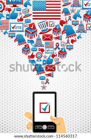 US elections online voting: hand holding a smart phone with icons splash background. Vector file layered for easy manipulation and custom coloring.