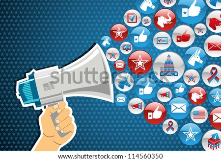 US elections politic marketing communication: hand holding a megaphone with icons splash background. Vector file layered for easy manipulation and custom coloring. - stock vector