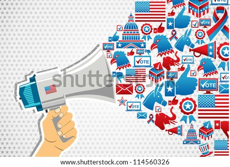 US elections politics marketing communication: hand holding a megaphone with icons splash. Vector file layered for easy manipulation and custom coloring.