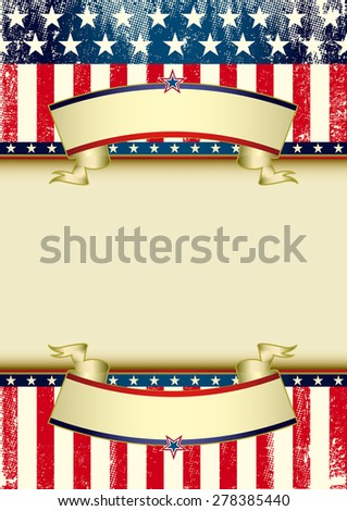 US flag grunge frame. An American background with ribbons for your publicity