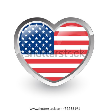 US flag heart (Vector image) - stock vector
