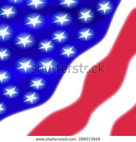 US flag in the wind. Vector.
