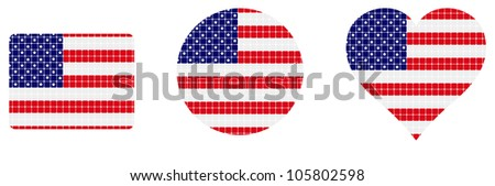 us flag isolated in white background