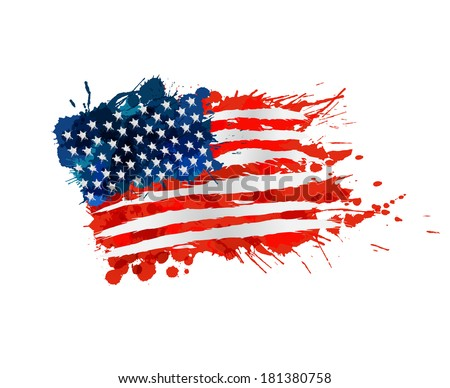 US flag made of colorful splashes - stock vector