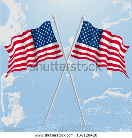 US flag waving. - stock vector