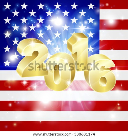 US flag with 2016 coming out of it with fireworks. Concept for New Year or anything exciting happening in America in the year 2016. - stock vector