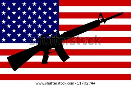 US Flag with Gun