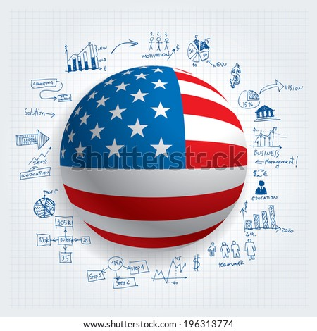 US flag with hand drawn business elements vector illustration. - stock vector