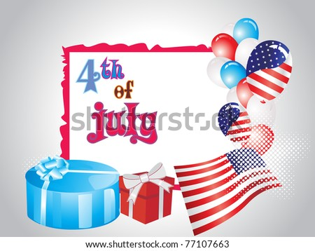 us independence day background with gift box, balloons and us flag
