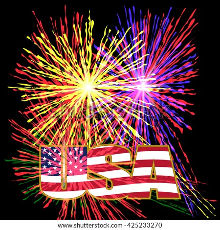 US inscription stylized flag colors in a gold frame on a background celebratory fireworks on Independence Day. Vector illustration