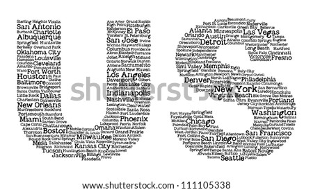 US letters with cities' names inside - stock vector