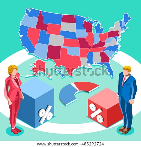 Us Map Election Infographic Democrat Republican Party Candidate Convention Usa Symbol Presidential Debate Vector Icon