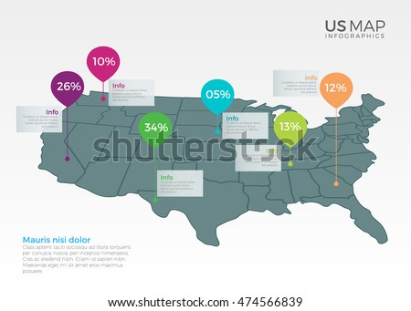 Us Map Infographics Design Vector Template Stock Vector 474566839