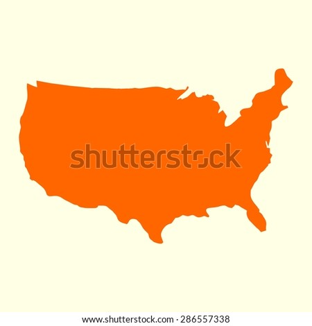 us map. orange USA map. US icon. template. - stock vector