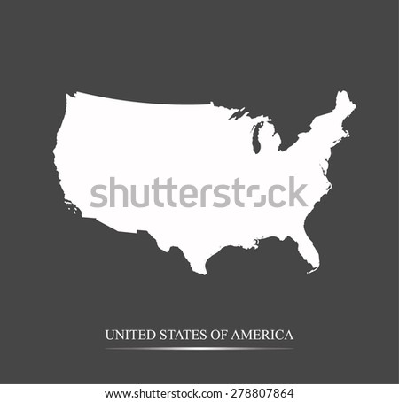US map outlines in highlighted grey background, vector map of USA in highly contrasted design for brochure template, tourist map, advertisement, web page design, science and education uses - stock vector