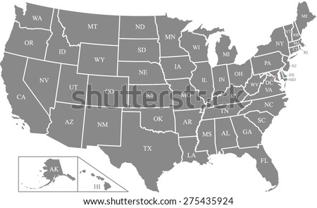 US map outlines with states names in abbreviations and capital's location and name, Washington DC, vector map of United States of America in grey color - stock vector