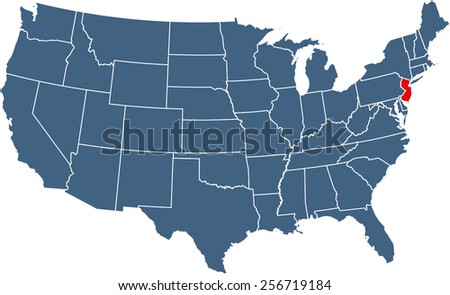 US map with highlighted state of New Jersey - stock vector