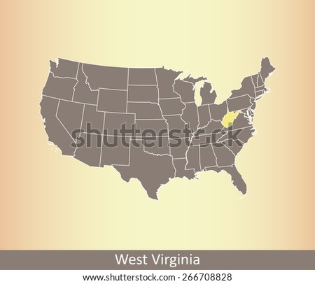 US map with highlighted state of West Virginia, on an old paper background - stock vector