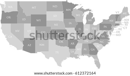 United States Map Labeled Postal Abbreviations Stock Vector - Map of the postal abreviations for the us