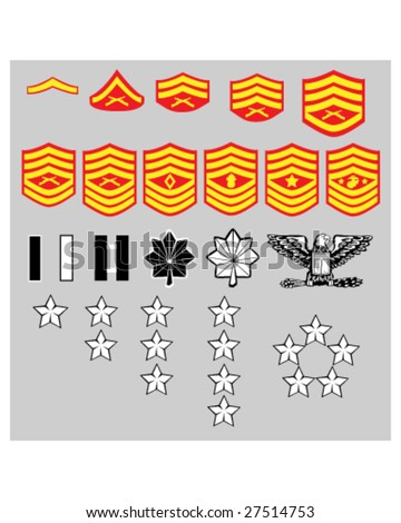 US Marine Corps rank insignia for officers and enlisted in vector format - stock vector