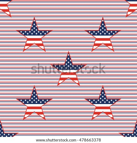 US patriotic stars seamless pattern on red and blue diagonal stripes background. American patriotic wallpaper with US patriotic stars. Wrapping pattern vector illustration.