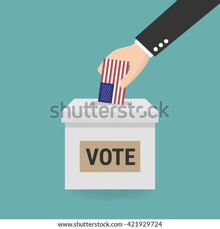 US Presidential election, Concept of election, Hand putting voting paper in the ballot box. - stock vector
